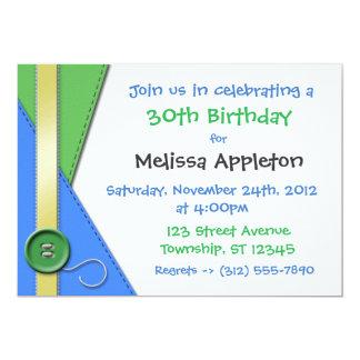 "Button ~ Green, Blue & Yellow Birthday Invitations 5"" X 7"" Invitation Card"
