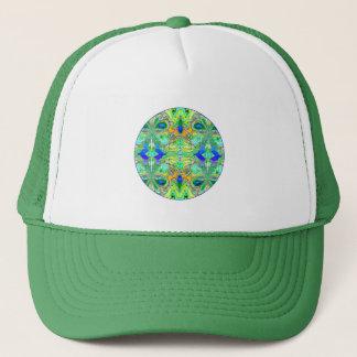 "Button: ""Green Butterflies with Blue Gemstones"" Trucker Hat"