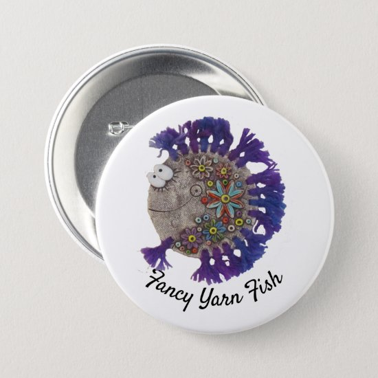 Button - Hippy Fish with Purple Fins