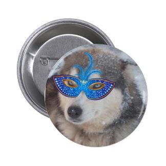 Button Husky Blue Eyes Mardi Gras Mask Blue