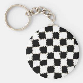 Button Keychain with Crocheted Checkered Style