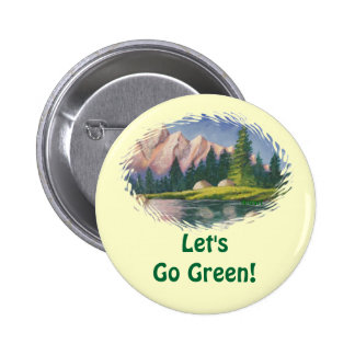 Button Lets Go Green Pink Mountain Painting