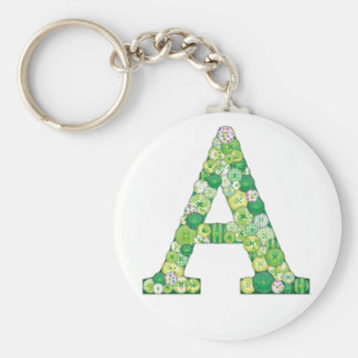 Button Letter A Key Chain
