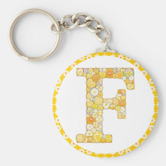 Button Letter F Key Chain