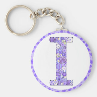 Button Letter I Key Chain