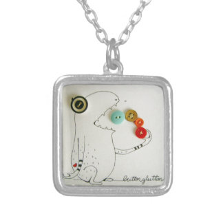 button monster silver plated necklace