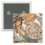 Button:  Mucha - Language of Flowers