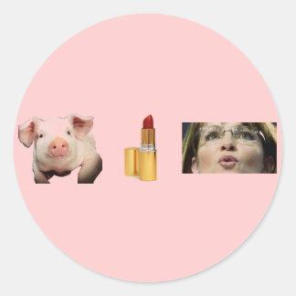Button / Pig + Lip Stick = Sara Palin Classic Round Sticker