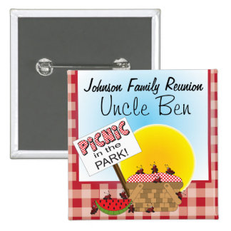 Button Pin - Personalize, Family Reunion Picnic Pinback Buttons