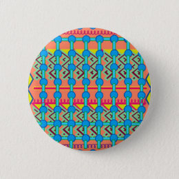 Button/Pin with Colorful Geometric Design Pinback Button