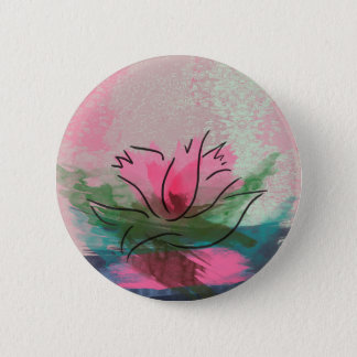 Button, Pink Flower Painting Button