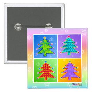 Button - Pop Art Christmas Trees