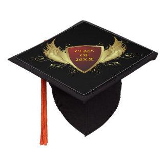 Button Retro gold crown wings II + your ideas Graduation Cap Topper