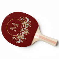 Button RETRO ORNAMENT   your monogram Ping-Pong Paddle