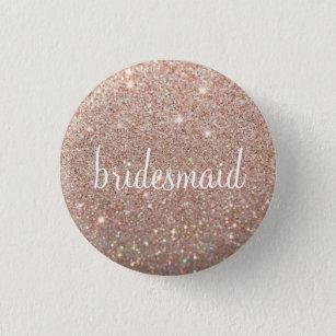 Button - Rose Gold Glitter Fab bridesmaid