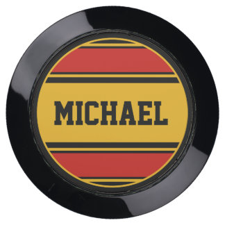 BUTTON ROUND stripes black red yellow + your Name USB Charging Station
