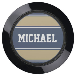 BUTTON ROUND stripes blue beige grey + your name USB Charging Station