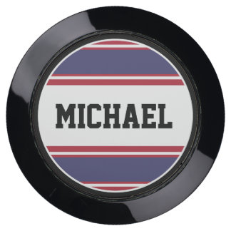 BUTTON ROUND stripes blue red white + your Name USB Charging Station