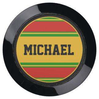 BUTTON ROUND stripes green red yellow + your Name USB Charging Station