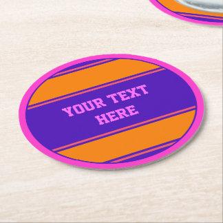 BUTTON ROUND stripes orange violet + your text Round Paper Coaster