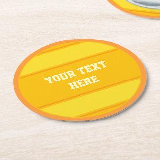 BUTTON ROUND stripes orange yellow + your text Round Paper Coaster