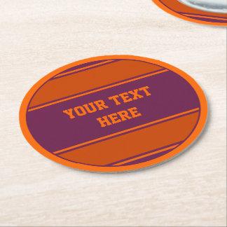 BUTTON ROUND stripes plum orange + your text Round Paper Coaster