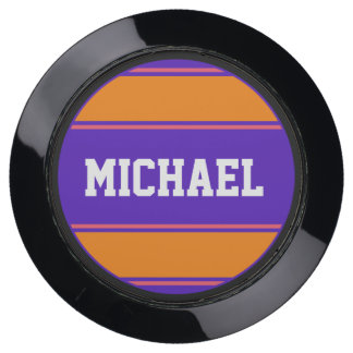 BUTTON ROUND stripes violet orange + your name USB Charging Station