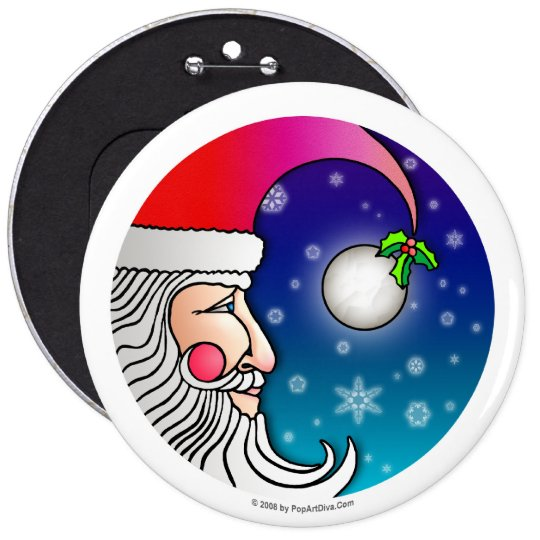 Button - Santa Claus Moon