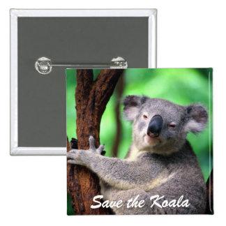 Button-Save the Koala Bear 2 Inch Square Button