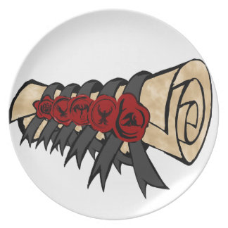 Button Seal Scroll Fiction Logo Dinner Plate