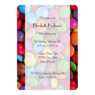 Button-Shaped Candy - Purple Pink Orange Green 5x7 Paper Invitation Card