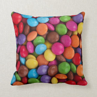 Button-Shaped Candy - Purple Pink Orange Green Throw Pillow