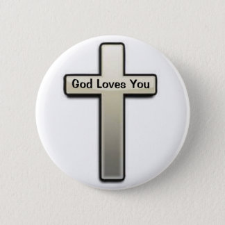 Button Silver Cross God Loves You