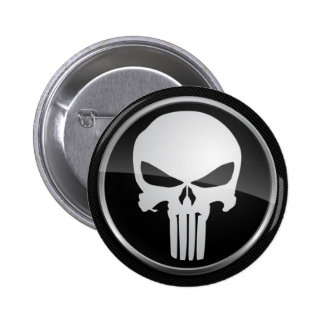 Button, Skull; Calavera Pin Redondo De 2 Pulgadas