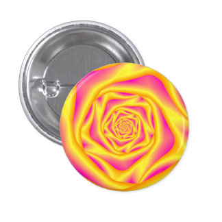 Button  Spiral Rose in Yellow and Pink