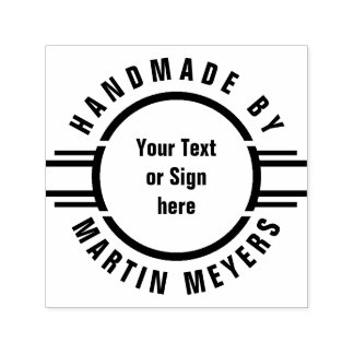 Button Stripes + Your Text, Logo or Sign Self-inking Stamp