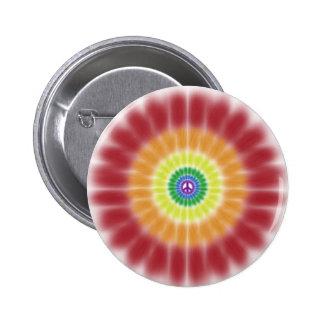 Button, Tie Dye Peace Sign Rainbow Explosion Button