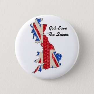 Button UK Flag God Save The Queen
