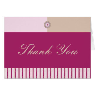 Button Up Pink And Tan Swirly Stripes Card