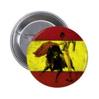 Button with Bullfight on Dirty Spanish Flag