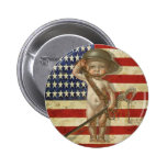 Button with Cute Baby War Hero Print