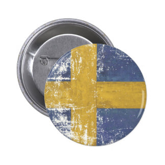 Button with Dirty Vintage Flag from Sweden