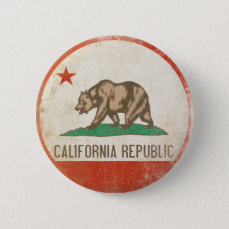 Button with Distressed California Republic Flag