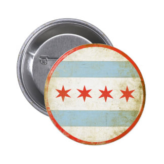 Button with Distressed Chicago Flag Print