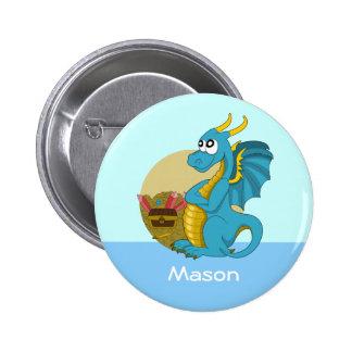 Button with dragon cartoon button
