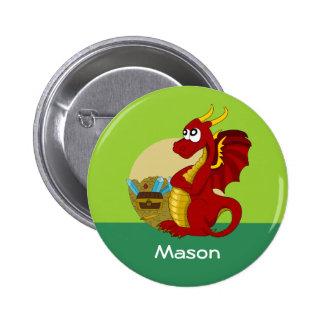 Button with dragon cartoon