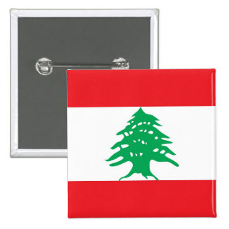 Button with Flag of Lebanon