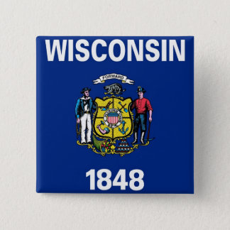 Button with Flag of  Wisconsin