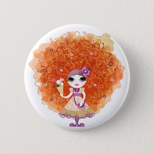 Button with funny girl character
