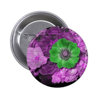 Button with purple and green flowers grunge effect